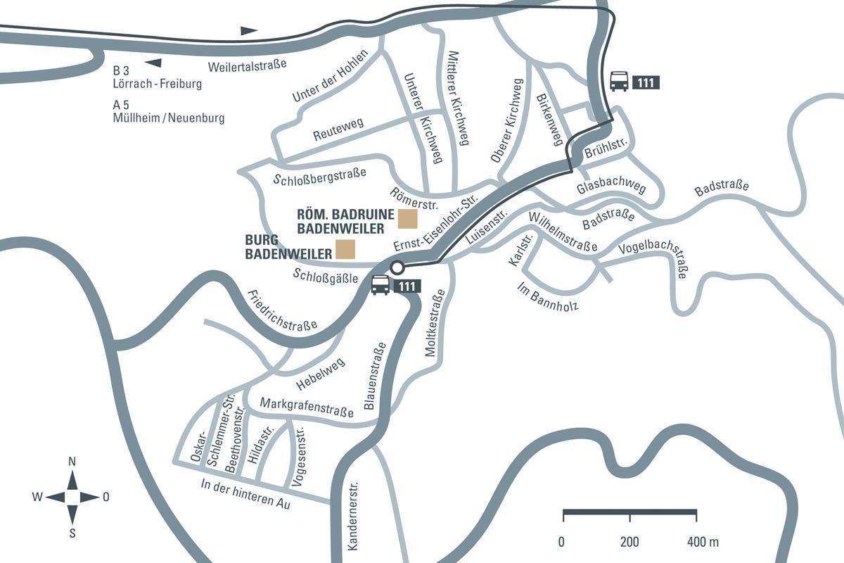Anfahrtsskizze zur Burg Badenweiler