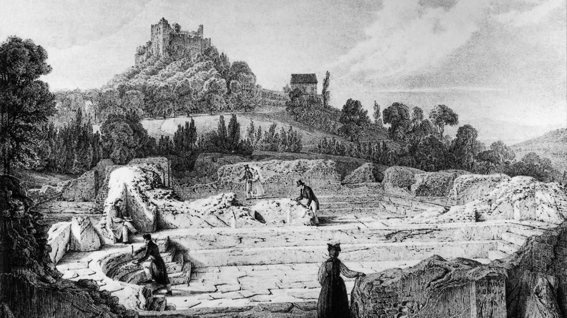Lithografie der Römischen Badruine Badenweiler und der Burg Badenweiler von Engelmann nach Chapuis, 19. Jahrhundert; Foto: Landesmedienzentrum Baden-Württemberg