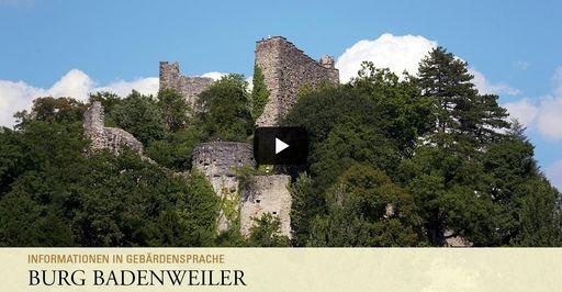 """Startbildschirm des Filmes """"Burg Badenweiler: Informationen in Gebärdensprache"""""""