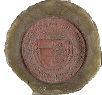 Siegel der Katharina von Burgund im Detail; Foto: Wikipedia, gemeinfrei