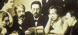 Anton Pawlowitsch Tschechow beim Vorlesen