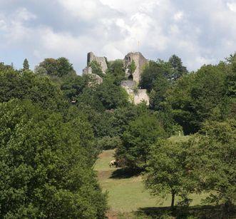 Fernansicht der Burg Badenweiler; Foto: Staatliche Schlösser und Gärten Baden-Württemberg, Achim Mende