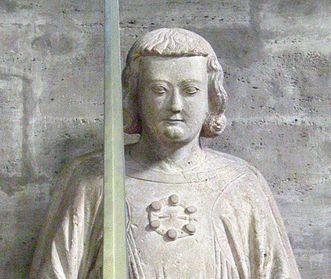 Stifterfigur im Braunschweiger Dom: Heinrich der Löwe oder sein Sohn; Foto: Wikipedia, gemeinfrei